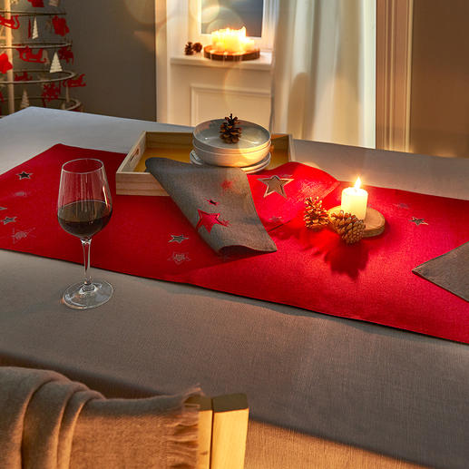Star Magic Table Runner and Placemats Worked in two layers, with elaborate star embroidery and breakthrough pattern.