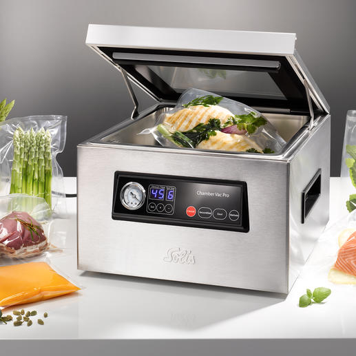 Solis Chamber Vacuum Sealer Ideal for liquid foods and for sous-vide cooking.