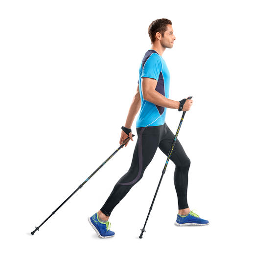 Ingenious walking poles for 77% more calorie burn.* Train more effectively thanks to patented spring resistance.