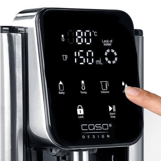 Simply tap the sensor display to determine the output temperature and to get up to 2.7 litres of hot water.