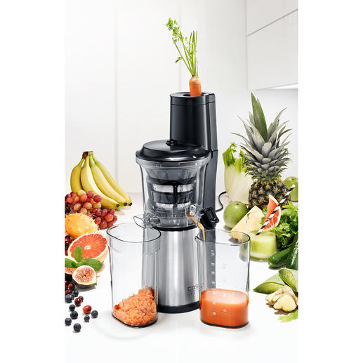 Caso Slow Juicer SJW 500 Ultra-compact slow juicer with extra-large filling opening for whole fruits.