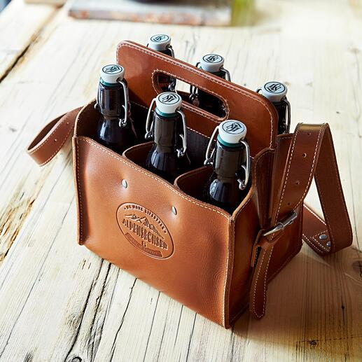 Buffalo Leather Bottle Bags Stylish bottle holder made of sturdy buffalo leather. Handmade in Germany.