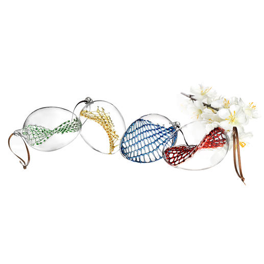 Glass Net Easter Eggs, Set of 4 - Premium glassblowing artistry for your Easter decor. Each piece is unique.
