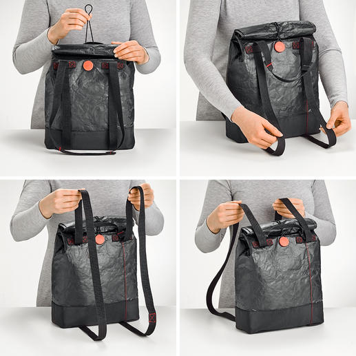 Simply pull the handles to transform the lunch bag from a shoulder bag into a backpack and vice versa.