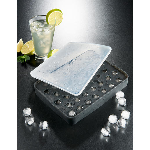 Ice Pearls Mould Flexible platinum silicone tray makes gleaming ice pearls – easily and effortlessly.