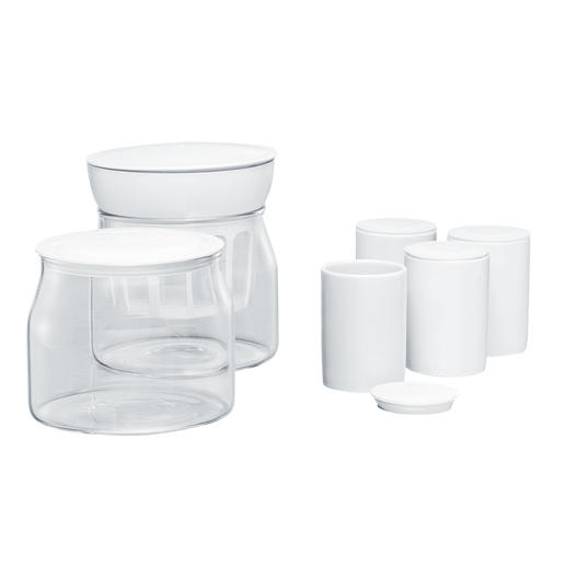 Included in delivery: 2 glass containers (each 1.2 litre) and 4 ceramic cups with lids (each 125ml).