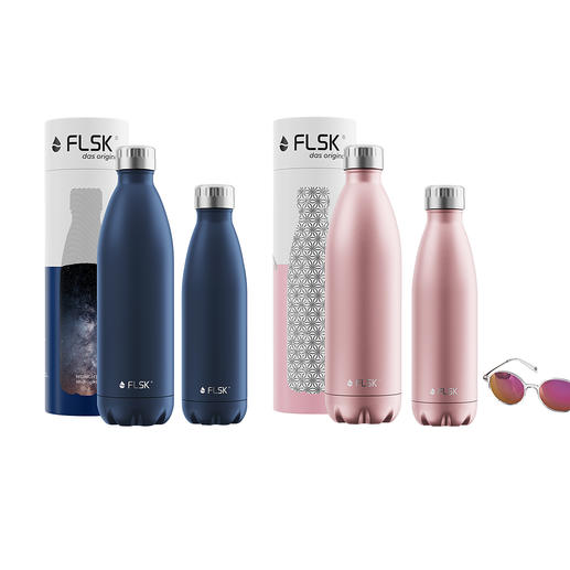 Insulated Bottles, Midnight Blue and Rose Gold