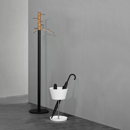 Basket Umbrella Stand Keeps umbrellas of all kinds within easy reach. With separate compartment for pocket umbrellas.