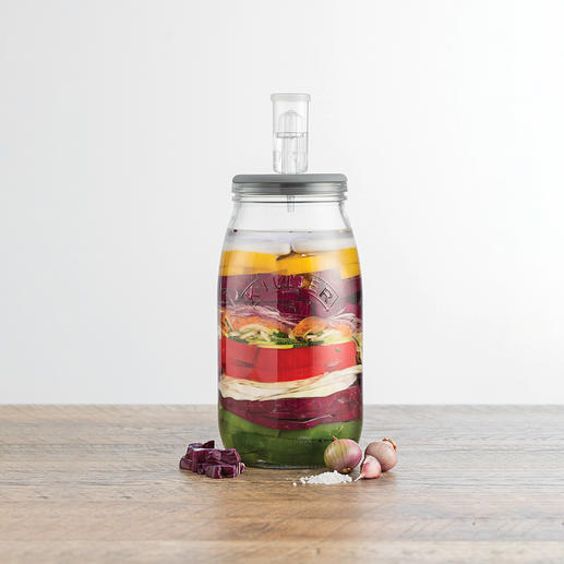 Thanks to the fermentation valve in the airtight lid, there is no excess pressure in the glass – for maximum success when preparing your delicacies.