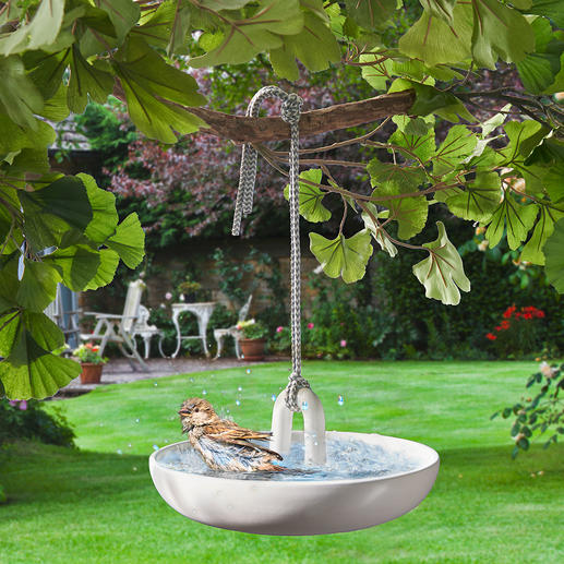 Hanging Birdbath Finest, white bathroom ceramics for your feathered guests. Elegant design by Eva Solo, Denmark.