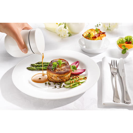 Thermal Sauce Boat Double-walled fine bone china keeps your sauces hot longer.