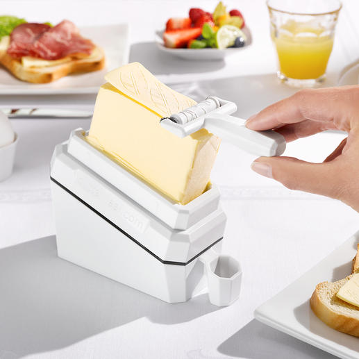 "Butter Slicer ""butter-leaf"" Ingenious invention for wafer-thin slices of cold butter."