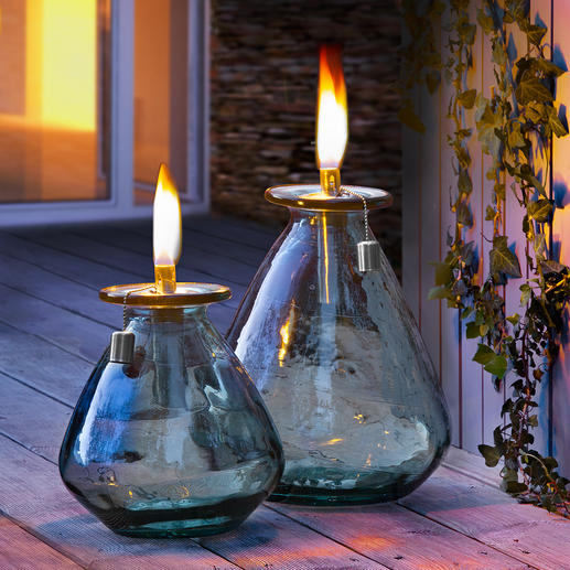 Oil Lamp made of Recycled Glass Robust enough for year-round outdoor use: Oil lamp made of recycled glass.