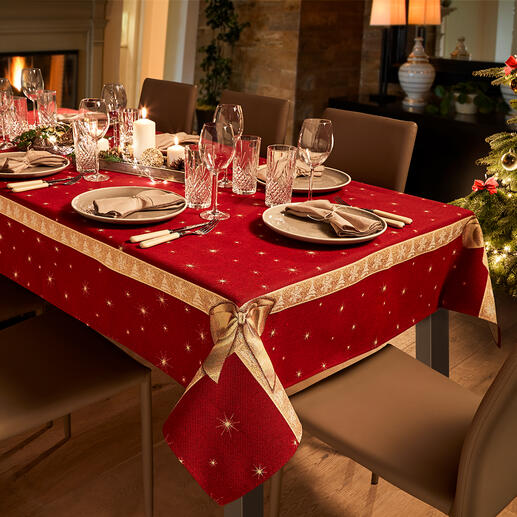 Tablecloth or Table Runner Bows A feast for the eyes: Radiantly beautiful, in bright Christmas colours.