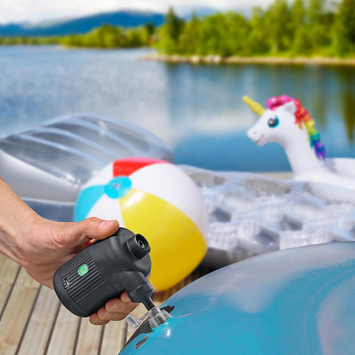 2-in-1 Battery-powered Air Pump Inflates airbeds, dinghies, swimming animals, ... Lights a barbecue and indoor fire. Removes air from vacuum garment bags.