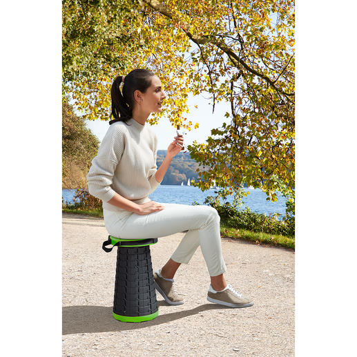 Telescopic Stool Lightweight, compact and even height adjustable.