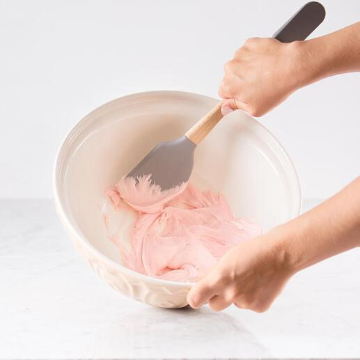 With the silicone dough scraper, nothing gets left in the bowl.