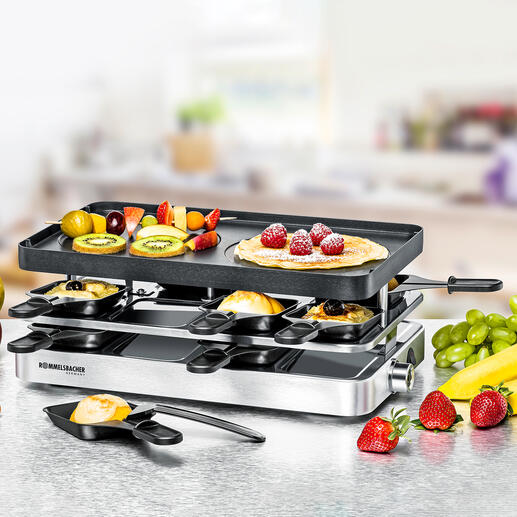 Simply by turning over the non-stick die-cast aluminium plate, the device is transformed into a crêpe maker.