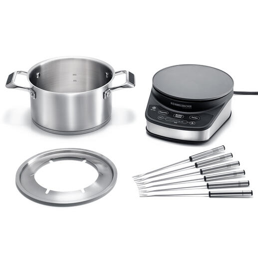With electronic temperature control– also ideal for a delicious chocolate fondue.