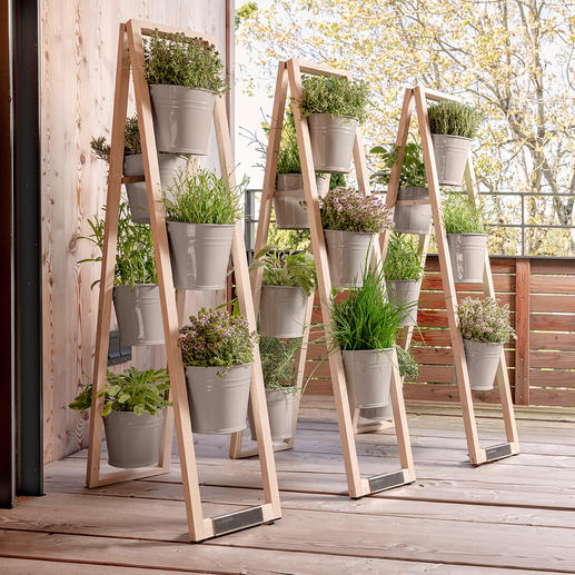 When splayed, the wooden ladder is tilt resistant on any level ground.