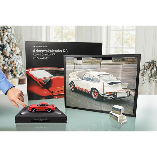 Porsche Advent Calendar 911 Carrera RS 2.7 The Advent calendar with the legendary ­Porsche 911 Carrera RS. It will bring you closer to your dream car in 24 steps. In form of a 1:24 scale model. Officially licensed.