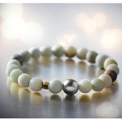 Amazonite Bracelet with Tahitian Pearls Can be combined in many ways due to high-quality components and is suitable for 24-hour use.