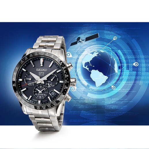 Astron GPS Solar Dual Time Cal. 5X53 Seiko Astron Calibre 5X53: Solar drive instead of batteries, precise GPS control, world time function.