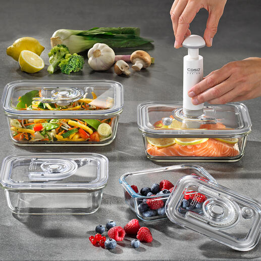 Glass Vacuum Containers, Set of 4 Keep your food fresh up to 8 times longer. Freezer, oven and microwave proof and remain hygienic for life.