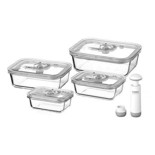 Glass Vacuum Containers, Set of 4