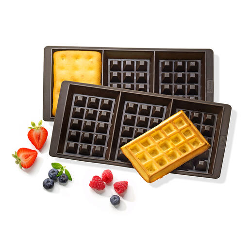 Silicone Waffle-Baking Pan, Set of 2 Pieces Enjoy waffles without the wait. 6 delicious waffles at a time: straight from the oven.