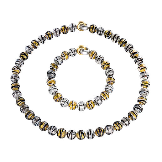 Murano Beaded Necklace or Bracelet - Venetian splendour: Shimmering gold and silver, embedded in luxurious Murano glass beads.