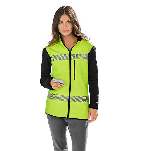 Shell: Innovative woven fabric made of 100% recycled micro polyester, waterproof and highly breathable Inner material: Fluorescing polyester with retroreflective stripes, high light fastness