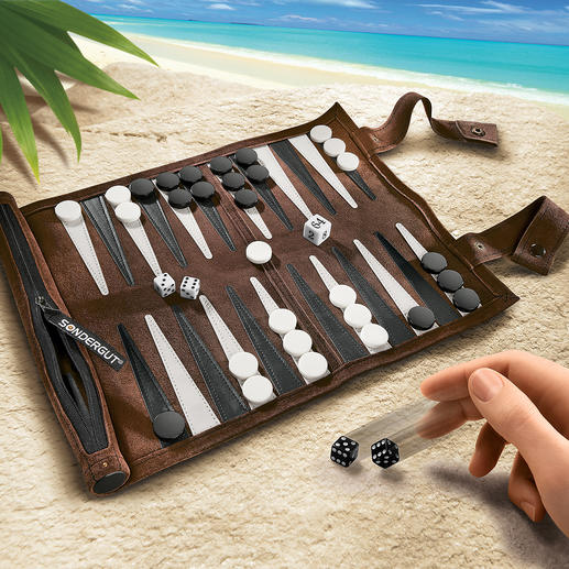 Travel Backgammon - A stylish backgammon board in soft suede. Perfect for every journey.