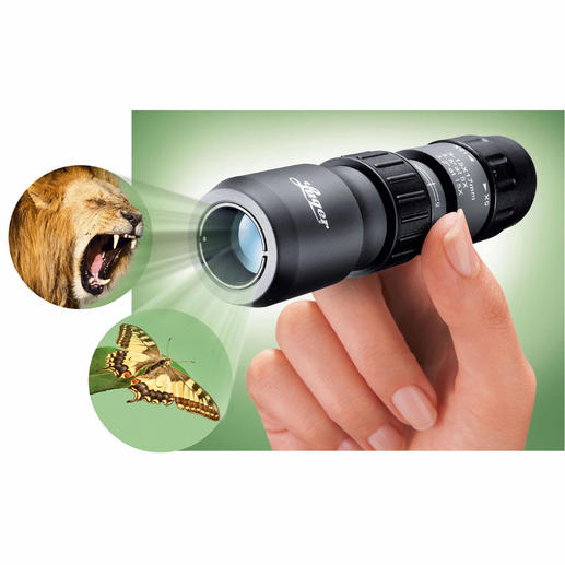 "Luger Mini-Monocular Quality by Luger. Five to 15x magnification, even as close up as 12""."