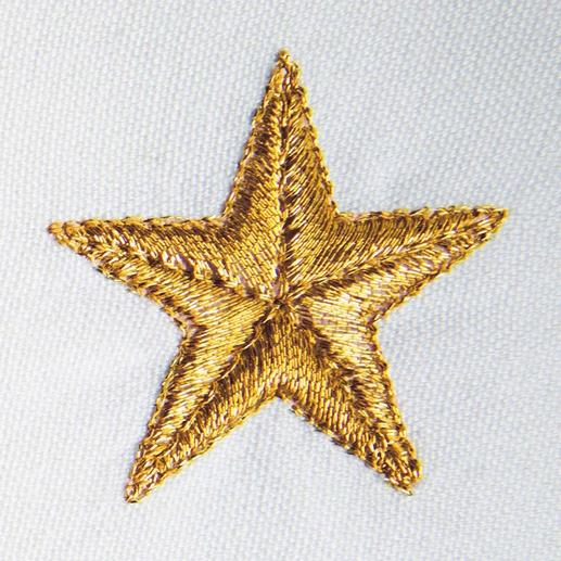 The finest metallic thread makes the gold or silver coloured stars look 