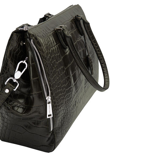 Crocodile-Look Business Bag Luxuriously embossed crocodile motif on shimmering polished nappa leather.