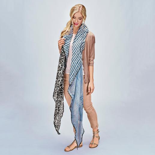 Plomo o Plata XXL Triangular Shawl in a Mix of Patterns Leopard skin print, flowers & stripes: The XXL triangular-shaped shawl.