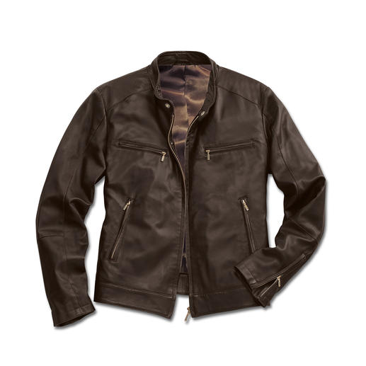 28 oz Reindeer Leather Jacket A mere 28 ounces: Rare reindeer calf nappa – silky soft and yet surprisingly hardwearing.