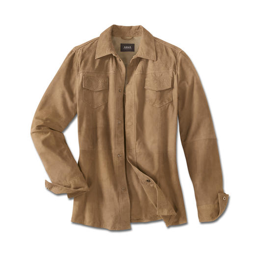 Climate Comfort Leather Jacket The leather jacket for summer – as light and airy as a shirt. Only weighs 23.3oz. In delicate goat suede.