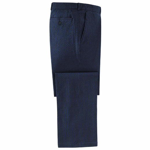 Seersucker Trousers, Navy Seersucker trousers are ideal in summer. Featherlight. Cooling. Non-iron.