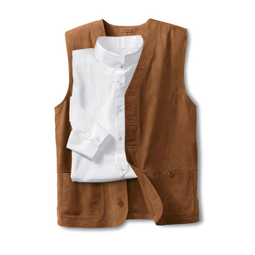 Washable Leather Waistcoat Your favourite soft waistcoat will come out of the washing machine looking like new.