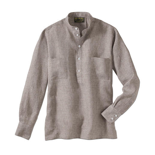 Nehru Shirt, Linen - Hollington's original stand-up collar shirt.