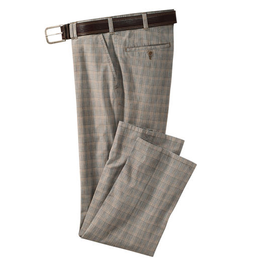 Glen Check Cotton Trousers In natural shades that are easy to combine.