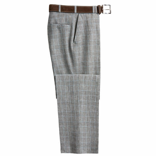 Bottoli's Glen Check Linen Trousers Goes with almost anything in your wardrobe.