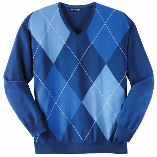 "Argyle Pullover ""Azzurro"" Argyle knit. Pure cotton. Italian craftsmanship. Three shades of blue make this pullover easy to coordinate."