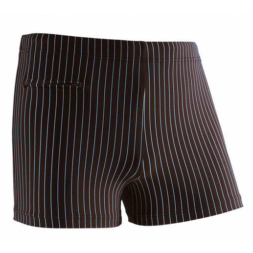 Pinstripe Swim Shorts Swim shorts gentlemen feel comfortable in.