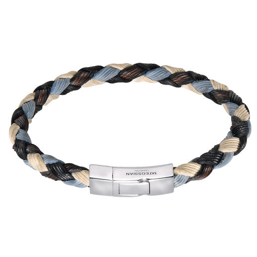 "Tateossian Woven Leather Bracelet ""Nautical"" Fresh nautical colours add a touch of summer to this men's jewellery classic."