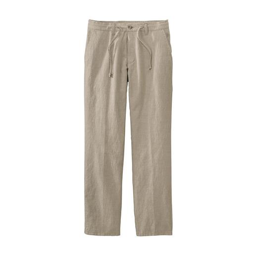 Comfortable Drawstring Trousers A comfortable pair of summer trousers can be this stylish. The cotton-linen mix is airy and refreshing.