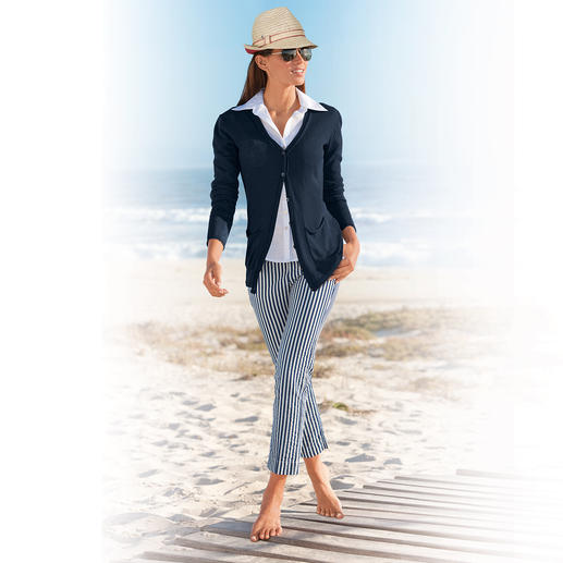 "Seersucker Trousers ""Blue Stripes"" Perfect summer trousers: In seersucker so light and airy – but still elegant enough for the office."