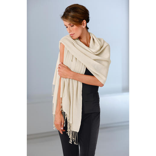 Pashmina Shawl Handwoven pashmina: So delicate that you can pull this wrap through a ring.